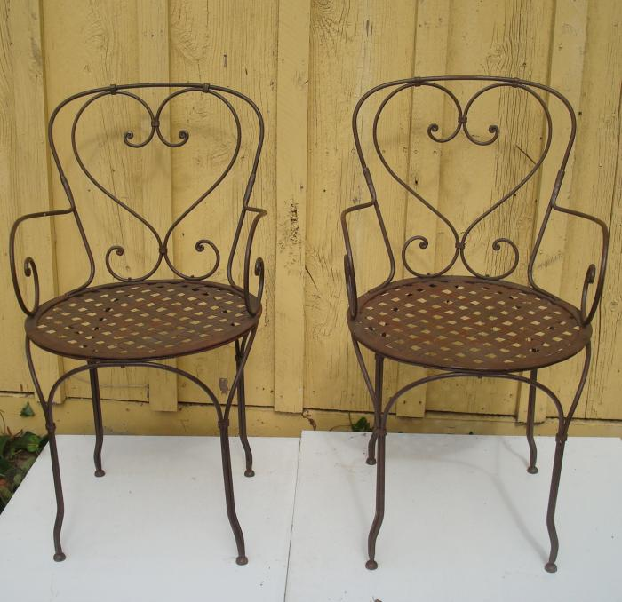 PAIR OF FRENCH WROUGHT IRON ARM CHAIRS