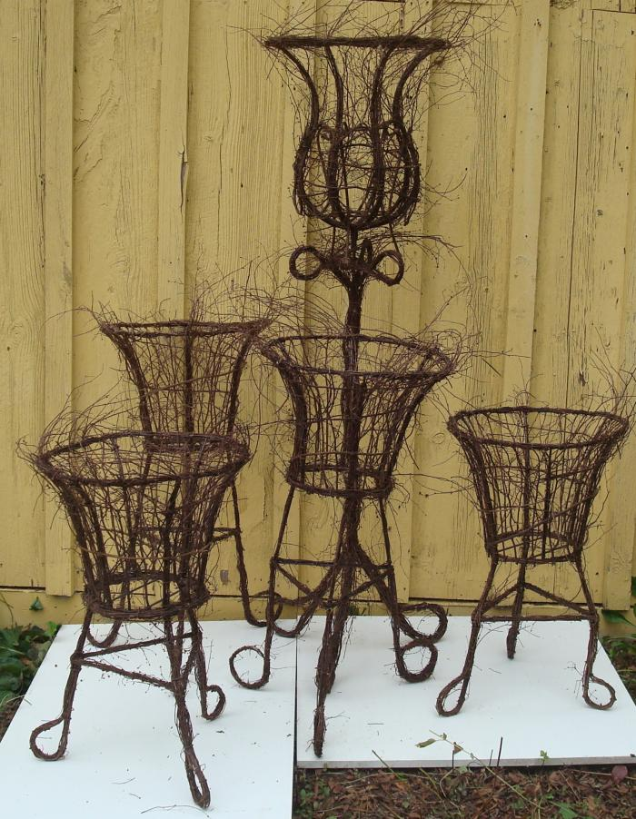 SET OF WROUGHT IRON PLANTER POTS WITH TWIG DECORATION