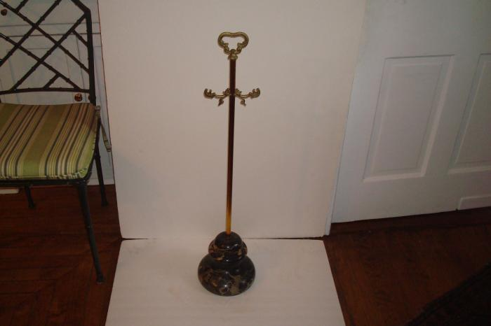 FIREPLACE TOOL HOLDER, BRASS AND MARBLE, ANTIQUE
