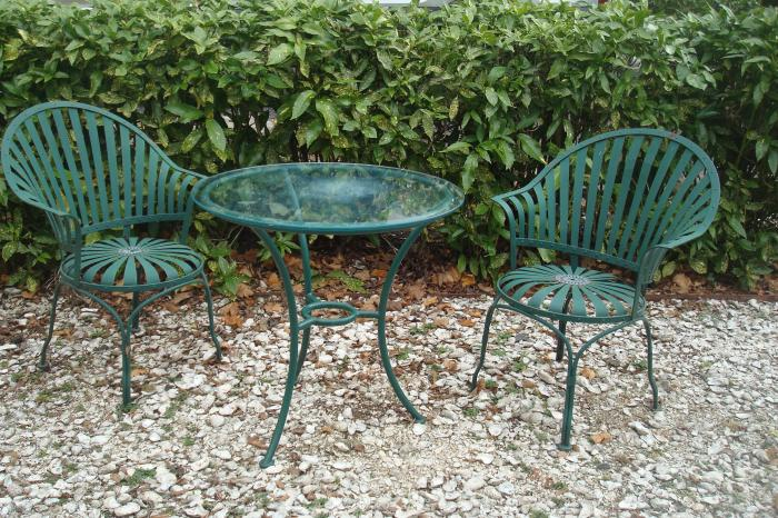 Francoise A. Carre Pair of Arm Chairs and Matching Table