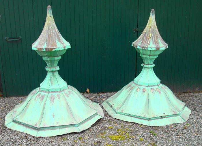 FINIALS, ANTIQUE PAIR COPPER CUPOLAS, CIRCA 1904