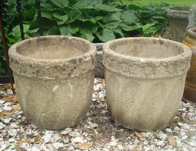 ENGLISH PAIR POTS, SWIRL DESIGN, CAST STONE, ANTIQUE, LABELED