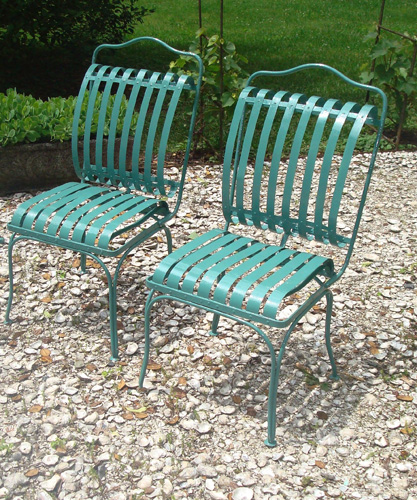 GARDEN CHAIRS, PAIR, VINTAGE FRANCOIS A. CARRE SPRING FORM DESIGN
