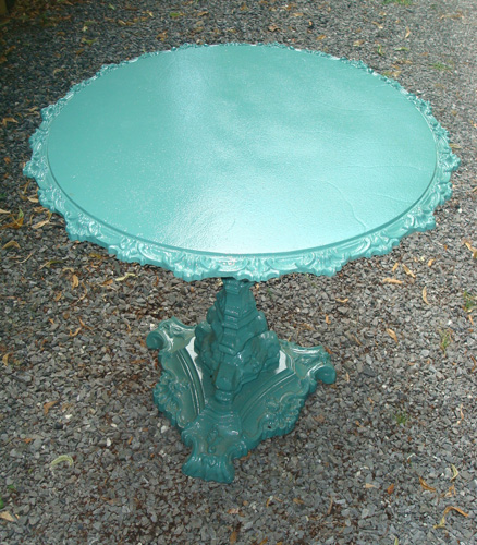 TABLE, ANTIQUE ROUND CAST IRON TILT TOP,  19TH C.