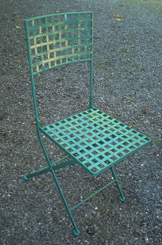 Folding Wrought Iron Chairs Woven Strap Seats Vintage