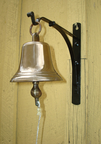 BELL, CAST BRASS, WALL HUNG, ANTIQUE