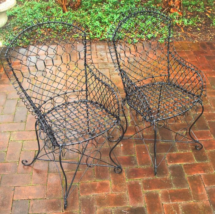 WIRE ARM CHAIRS, PAIR, ANTIQUE