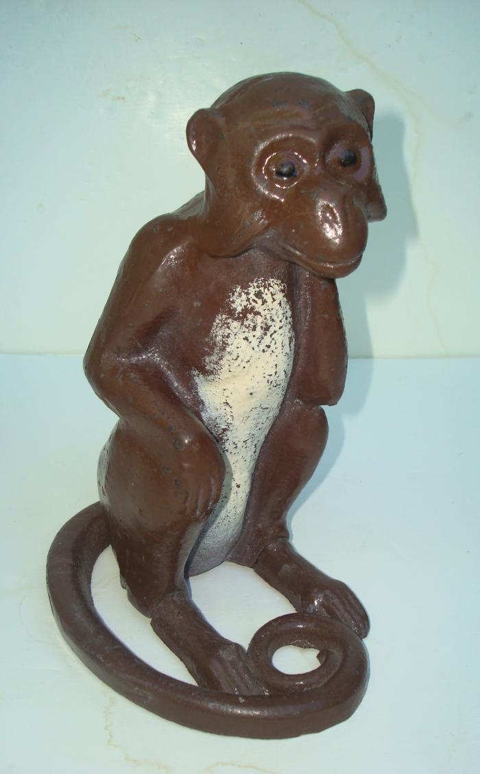 MONKEY DOORSTOP, CAST IRON, ANTIQUE
