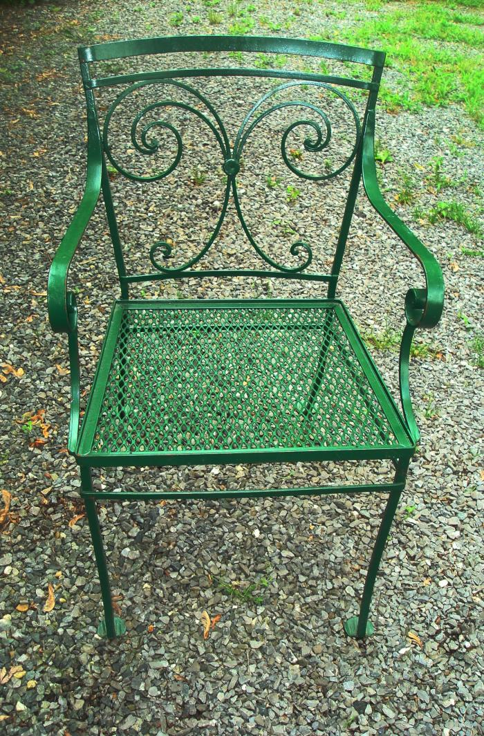 Garden chair vintage wrought iron arm chair c 1950 - Vintage wrought iron chairs ...
