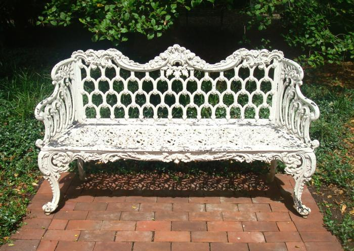 BENCH, CAST IRON GOTHIC PATTERN, 19TH C.