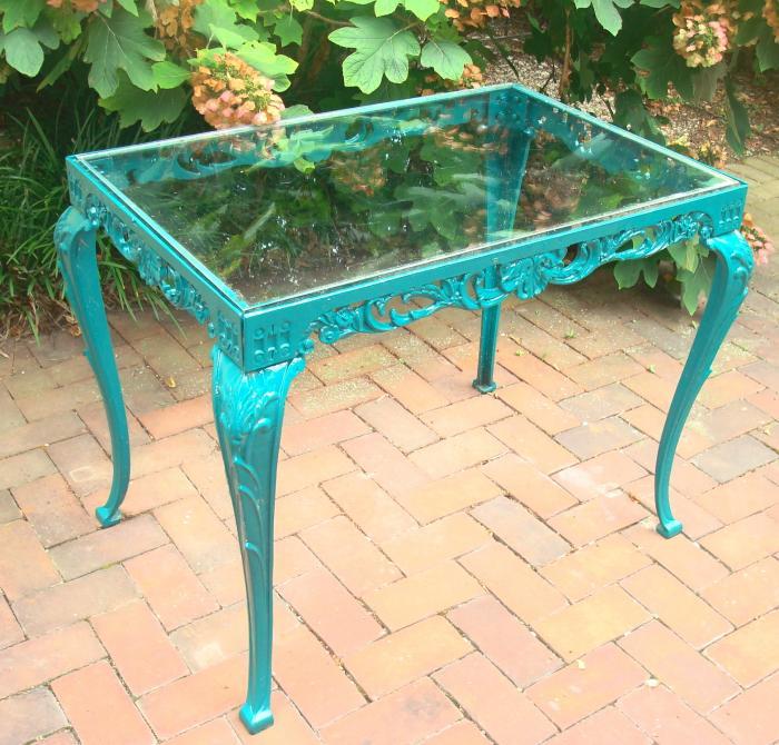 Cast iron rectangular garden table with glass top garden for Cast iron and glass dining table