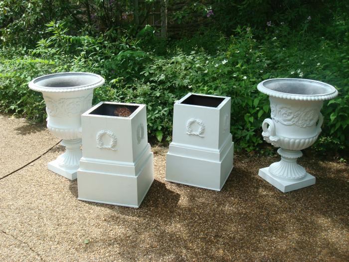Large Pair Of Two Part Classical Cast Iron Garden Urns On Tall Plinths,  Bowls With Handles Ending In The Form Of Classical Heads, And Encircled  With Wide ...