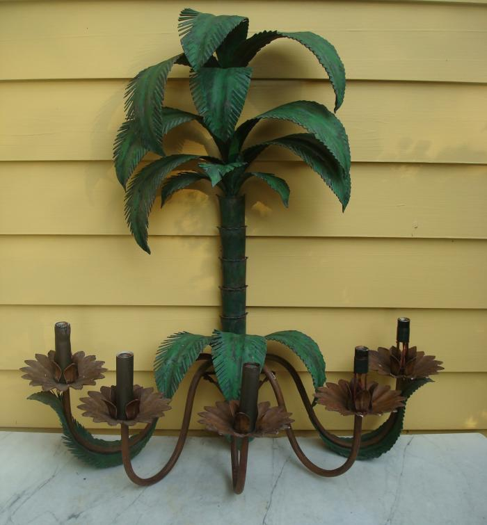 PALM TREE TOLE WALL SCONCE, 5 LIGHTS