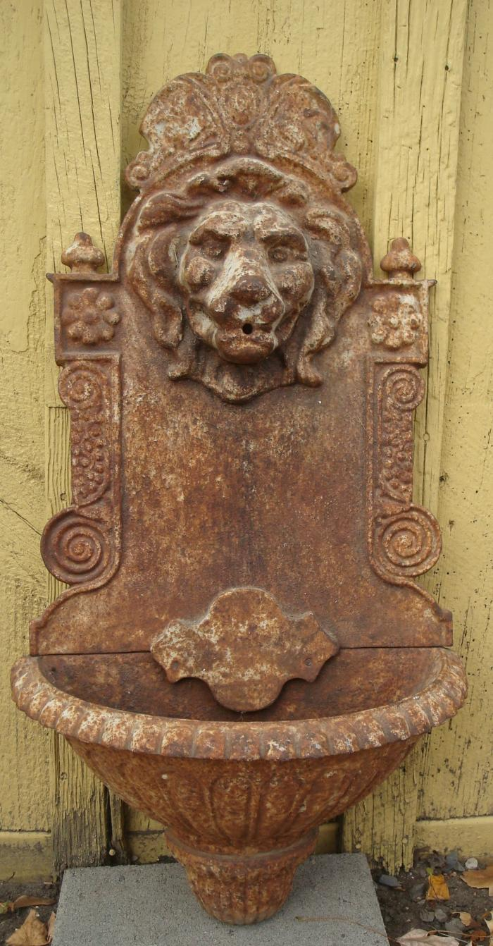 WALL FOUNTAIN OR PLANTER, CAST IRON WITH  LION HEAD, 19TH C