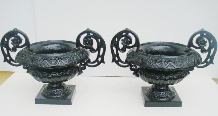 PAIR CAST IRON SMALL 19TH C. URNS