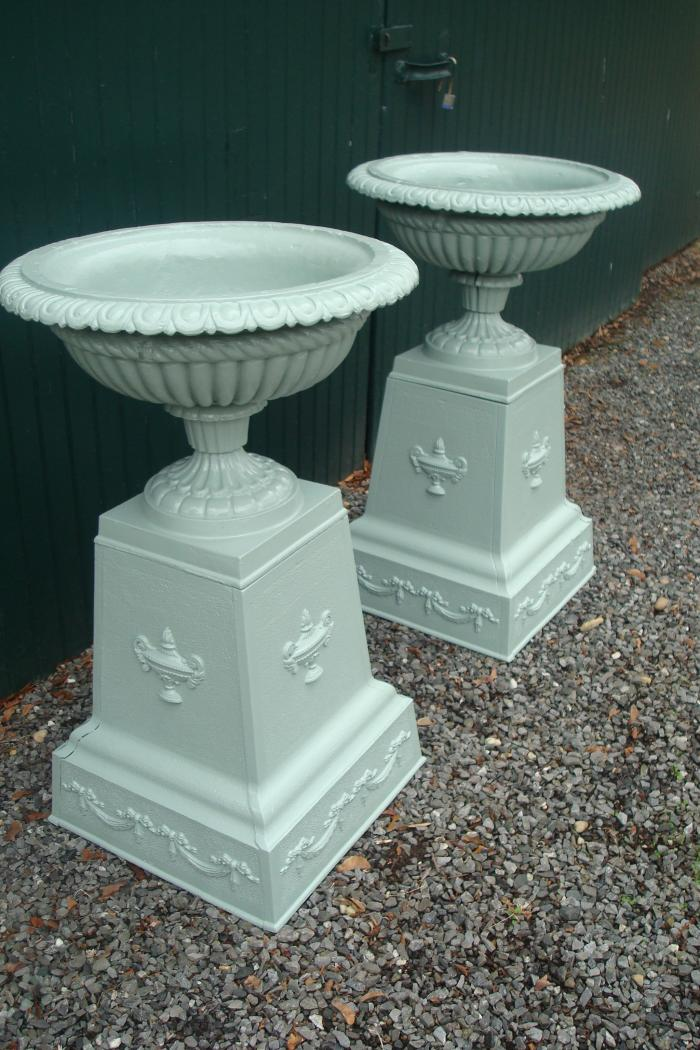 PAIR CAST IRON URNS, 19TH C. CLASSICAL TAZZA FORM, ENGLISH