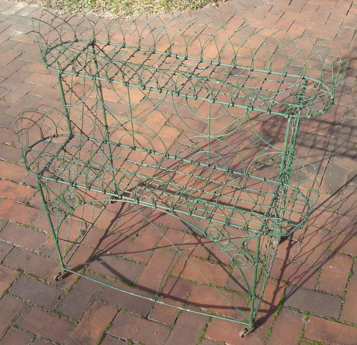 PLANT STAND, WIRE WORK, ANTIQUE TWO TIER