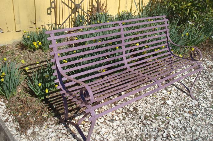 ANTIQUE WROUGHT STEEL GARDEN BENCH OR SETTEE PAINTED LAVENDER