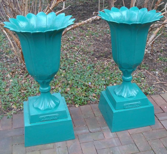 TULIP URNS, PAIR, CAST IRON, LABELED WALBRIDGE FDY
