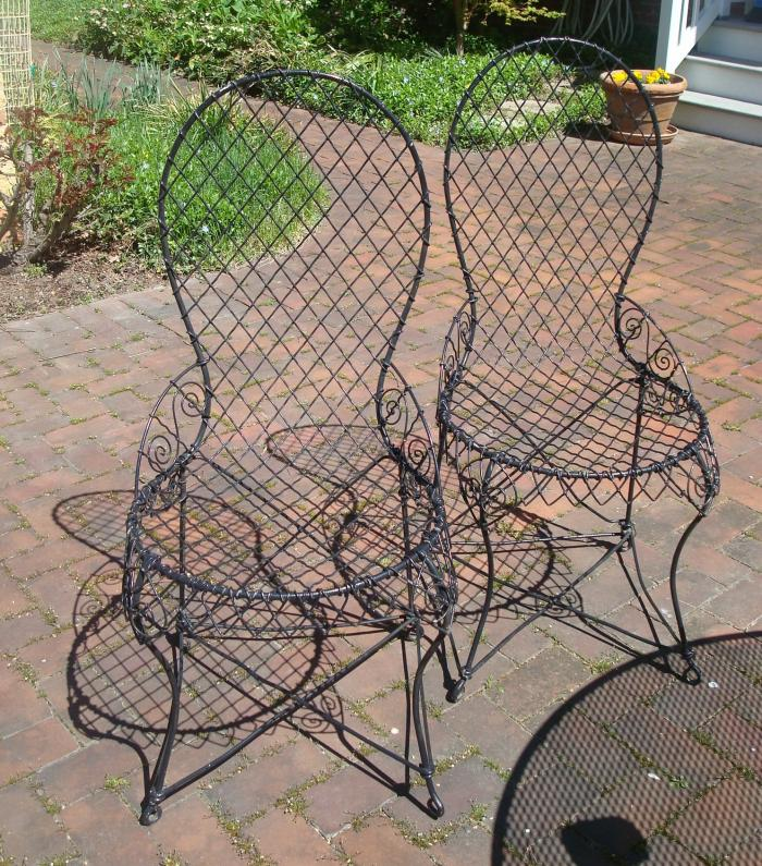 PAIR STEEL WIRE CHAIRS, HIGH BACK, 19TH CENTURY