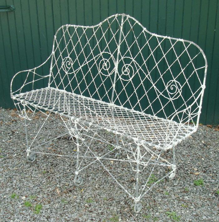 WIRE SETTEE OR GARDEN BENCH, ANTIQUE