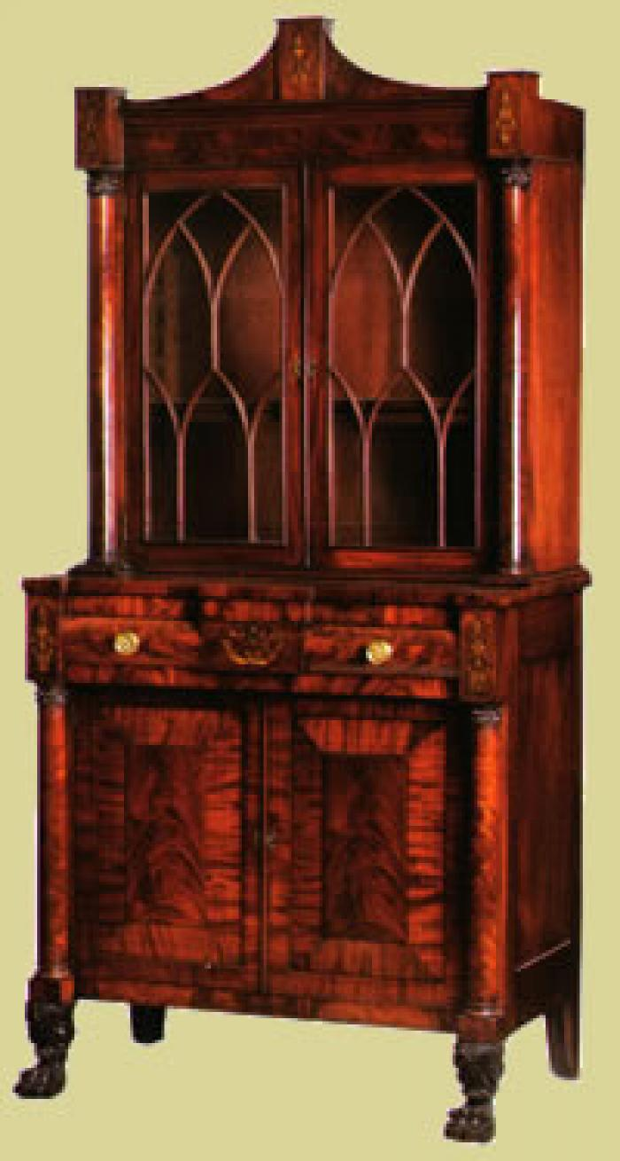 Secretary bookcase labeled by Edward Holmes (w.c. 1821 - 1845)