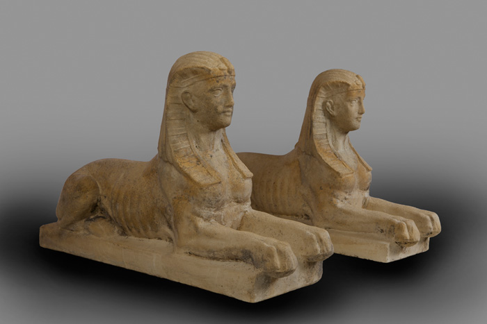 SPHINX, PAIR ANTIQUE TERRA COTTA