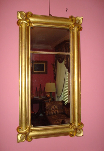 MIRROR, ANTIQUE GILTWOOD, ISAAC PLATT, N.Y. 1830