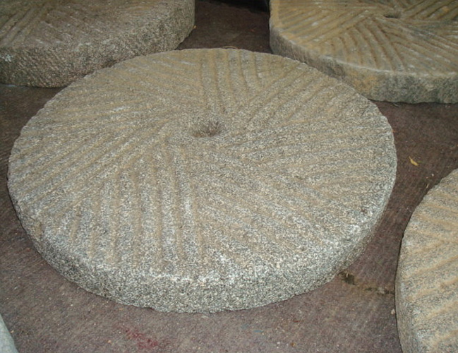 MILLSTONES, ANTIQUE CARVED STONE 18-21 INCHES
