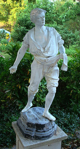 FRENCH ZINC STATUE THE SOWER, SIGNED J F MILLET