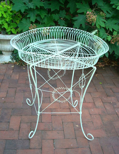 WIREWORK PLANT STAND, ANTIQUE, 19TH C. VICTORIAN