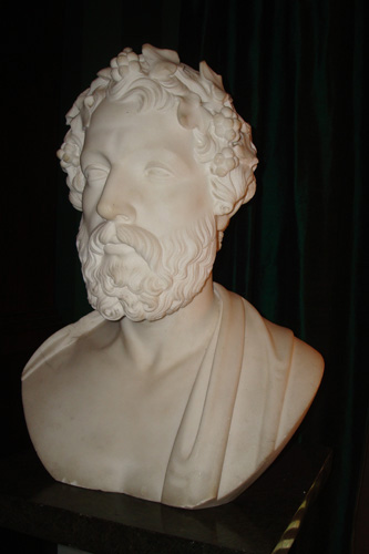 MARBLE BUST OF ANACREON LYRIC GREEK POET, 19TH C.
