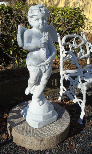 CHERUB FOUNTAIN,  ANTIQUE ZINC, 19TH C., 35 INCHES HIGH