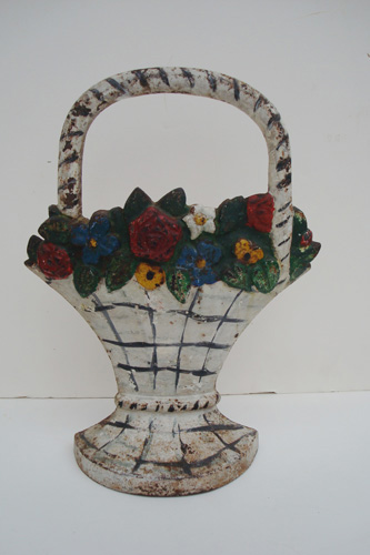 Antique Hubley Doorstop | Basket of Flowers
