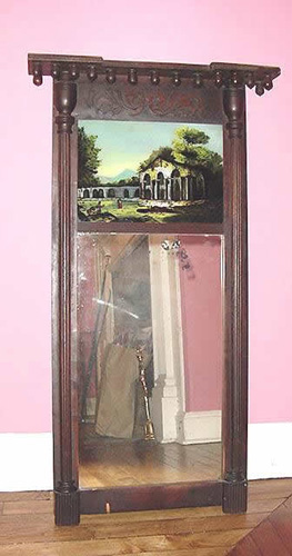 Reverse Painted Mirror Mahogany Once had the Original Paper Troy New York Label