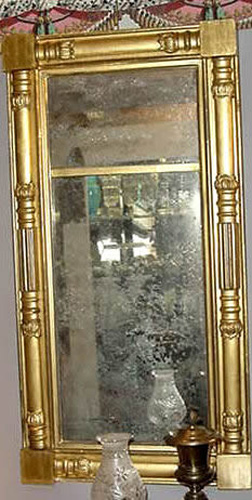 Antique Classical Giltwood Mirror with Original Mirror Plate and Gilt