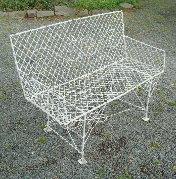 WIRE SETTEE OR GARDEN BENCH,  ANTIQUE, RECTANGULAR