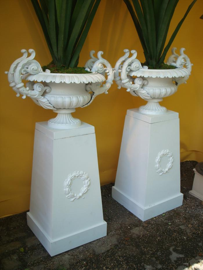 PAIR DOUBLE HANDLED CAST IRON URNS, 19TH C.