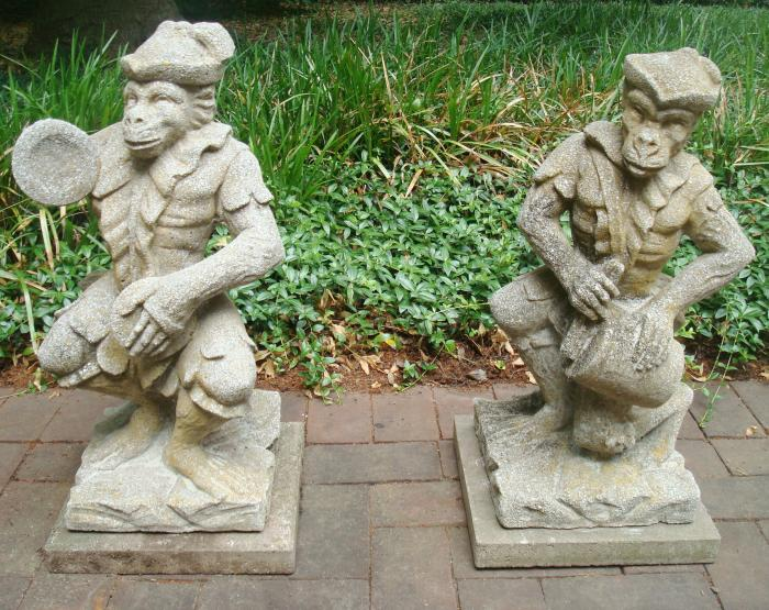 MONKEY MUSICIANS STATUES, PAIR, ANTIQUE