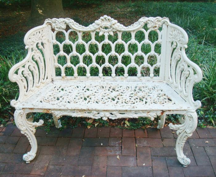 GOTHIC  CAST IRON BENCH OR SETTEE, 46 in wide