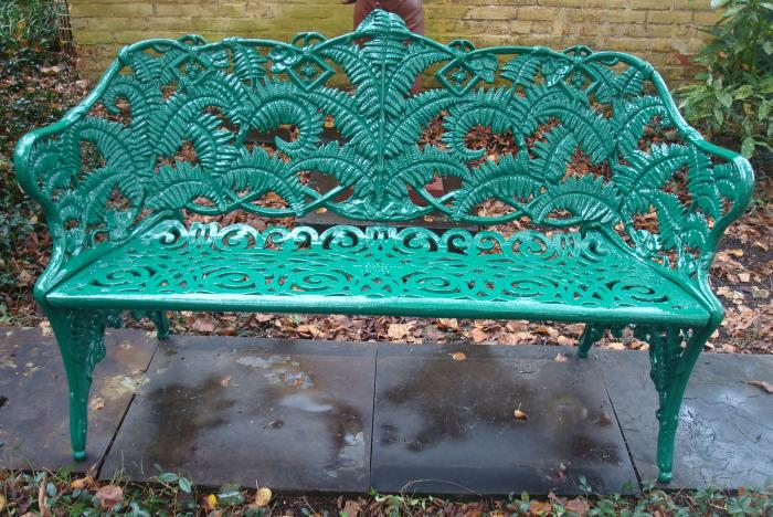 FERN BENCH, CAST IRON, KRAMER BROS. FDY.