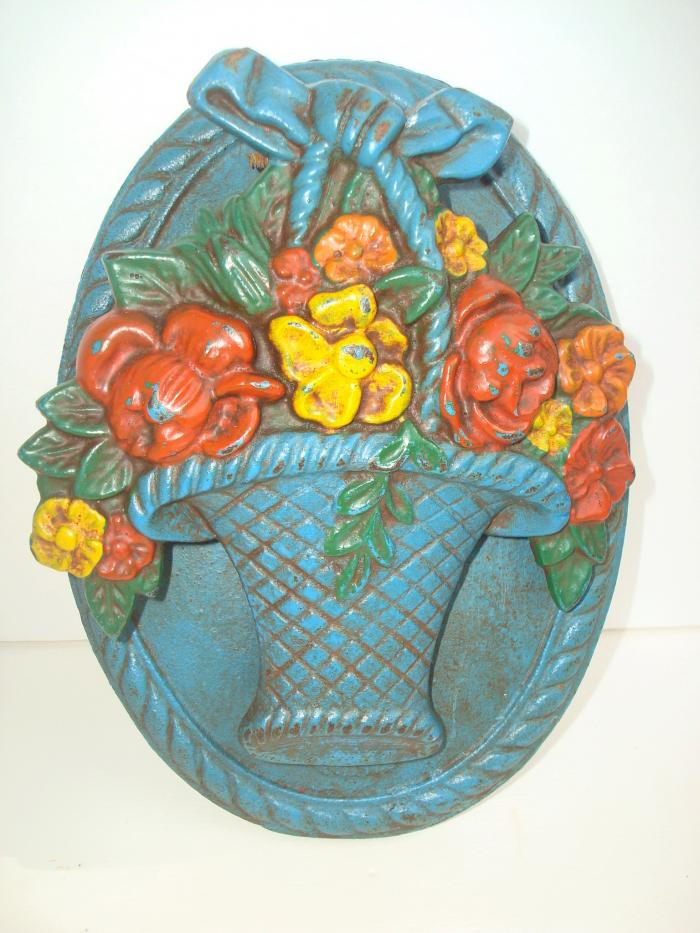 DOORKNOCKER, BASKET OF FLOWERS, cast iron