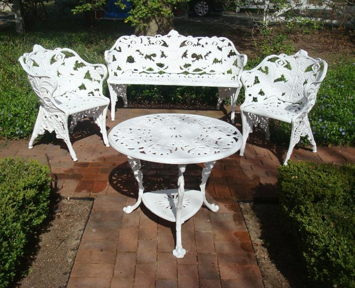 FERN PATTERN ZINC BENCH TWO CHAIRS AND TABLE