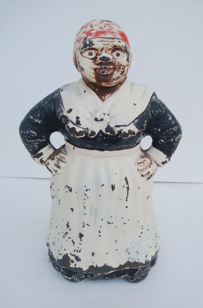 LARGE MAMMY DOORSTOP, CAST IRON