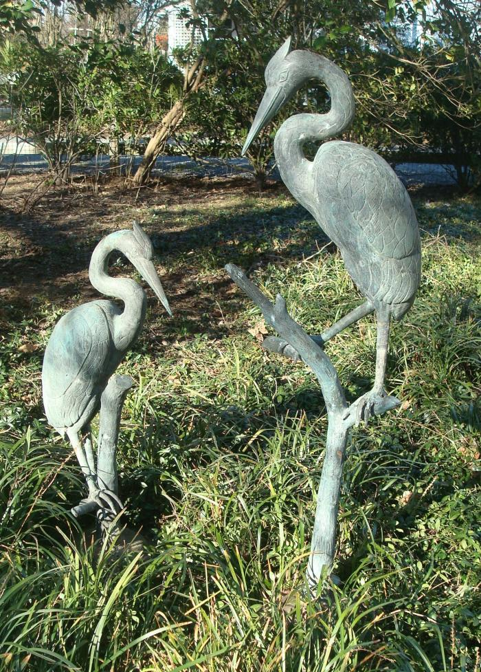 BRONZE HERONS TWO EARLY 20TH C.