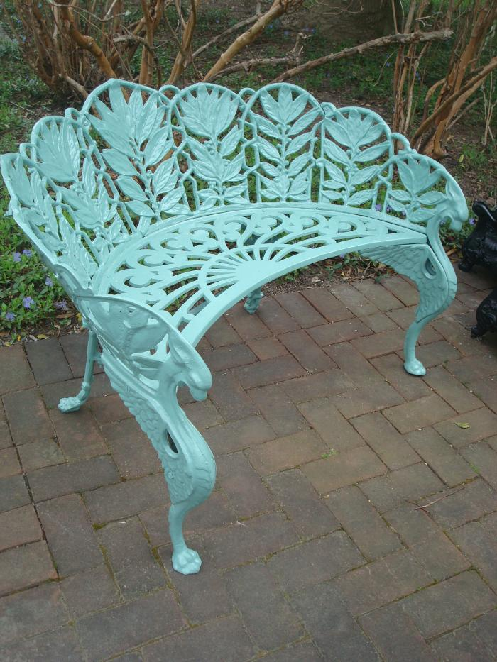 Laurel Pattern Zinc Garden Bench