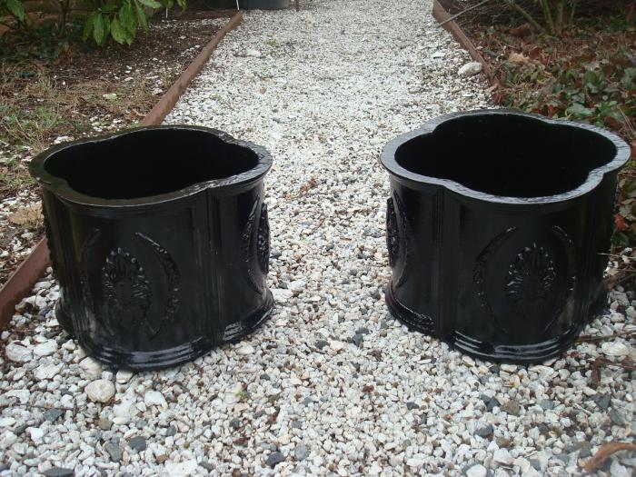 PAIR CAST IRON QUATREFOIL PLANTER POTS