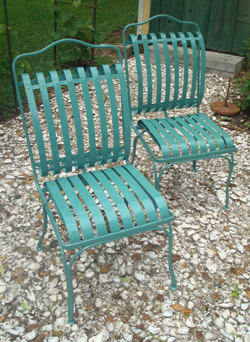 GARDEN CHAIRS, PAIR, VINTAGE FRANCOIS A. CARRE SPRING FORM DESIGN ...