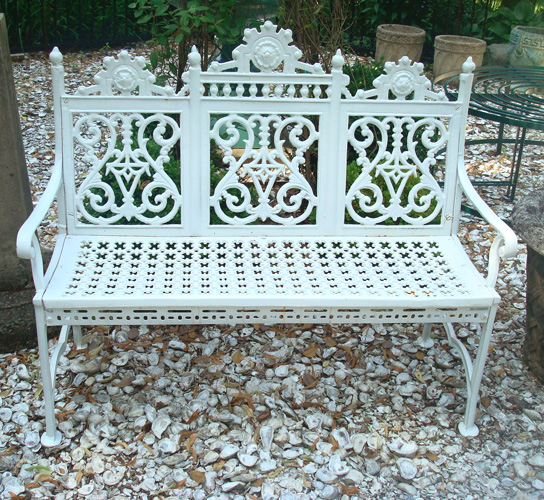 ANTIQUE BENCH, CAST IRON CURTAIN PATTERN, 19TH C.