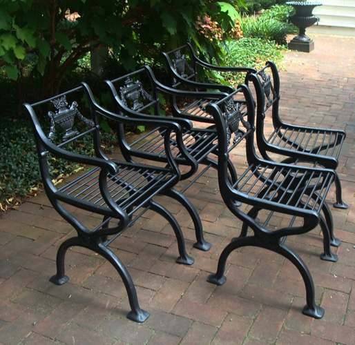 chairs set five cast iron classical design c 1920 aileen minor